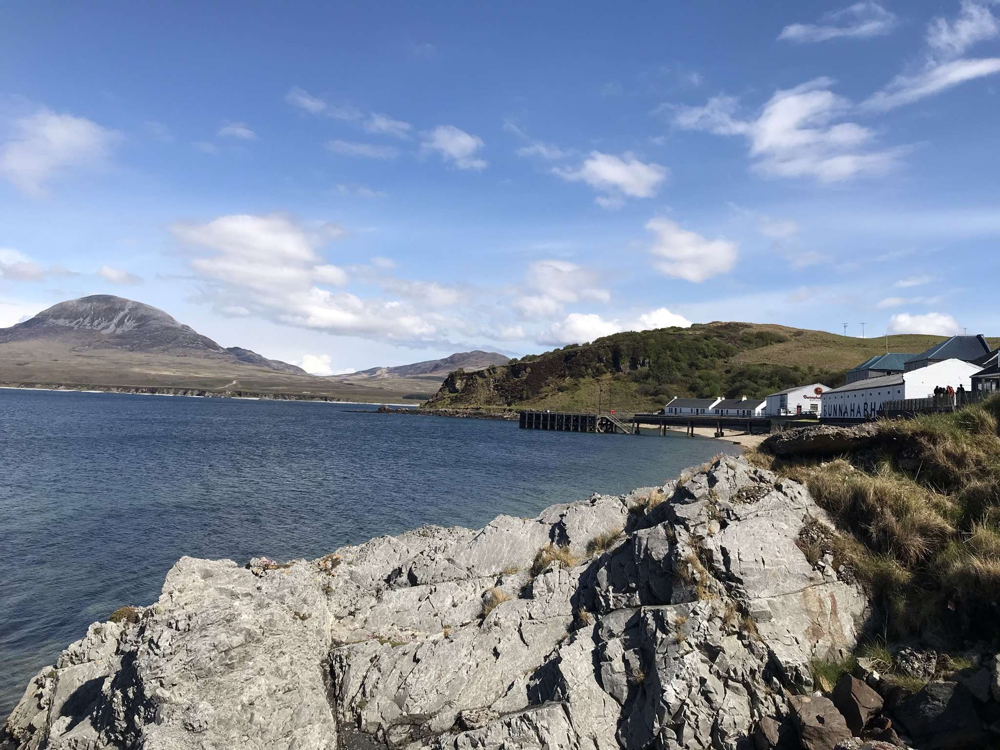 Bunnahabhain Distillery on Isle of Islay looking across to Isle of Jura